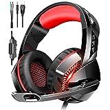 Auriculares Gaming PS4, Auriculares Cascos Gaming Micrófono con Reducción de Sonido y Control de Volumen Gaming Headset con Conector Jack 3.5mm y Luces led,Válidos para PC/Xbox One/Móvil (Red-1)