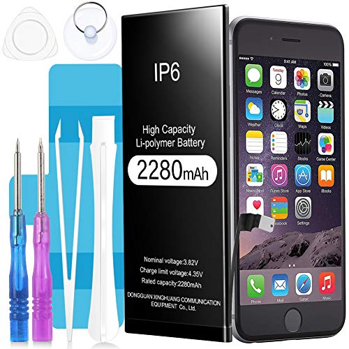 Akku für iPhone 6 2280mAh, Suzi Hochleistungs-Li-Polymer-Akku Batterie mit komplettem Repair Tool Kit Klebstoff und Anweisungen