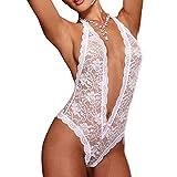 Oyedens Dentelle Floral Combinaison Bustier Babydoll Bikini Robe Décolletée Pyjama Lingerie Nuisette Babydoll Sexy Déguisement Vêtement Nuit (Blanc, M)