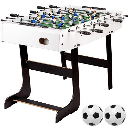 """Maxstore Tischfussball \""""Belfast\"""", klappbar, Farbe: weiß, nahtlos hochgezogene Spielfeldecken, inkl. 2 Bälle, Kicker Kickertisch Tischkicker"""