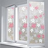 HUOXIAO Milchglasfolie/Fensterfolien, Rosa Blume, Statischer Leimloser Glasfilm Fensterpapier Glasaufkleber Fenster Bilder,90X300cm