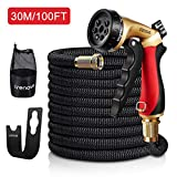 Crenova 100ft garden hose Expandable Hose with Double Latex Core, Solid Brass Connector