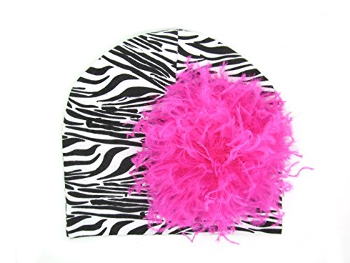 a Print Hat with Hot Pink Large Curly Marabou (Zebra Print Hüte)