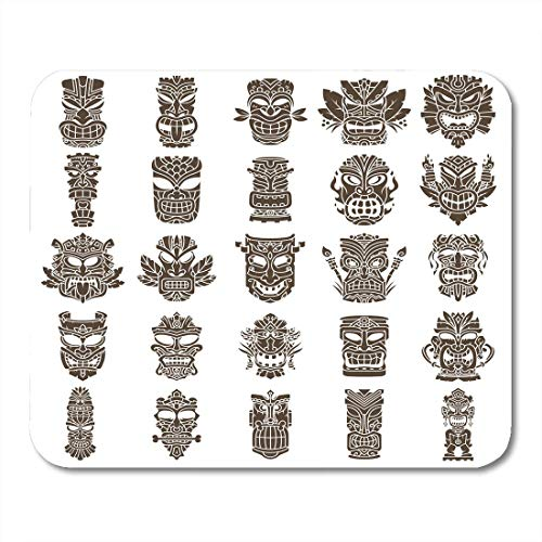 Luancrop Mauspads Gesicht aztekisch braun Tiki-Kopf aus Formen Hawaii Mauspad für Notebooks, Desktop-Computer Matten Bürobedarf