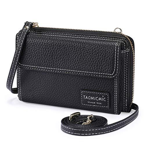 Enmain Damen Umhangetaschen Handytasche Portemonnaie PU Leder Handtaschen mit Reibverschluss