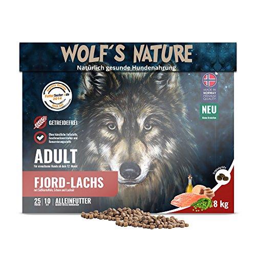 Wolf\'s Nature Getreidefreies Trockenfutter aus Norwegen in Lebensmittelqualität (Lachs - Adult, 8 kg)