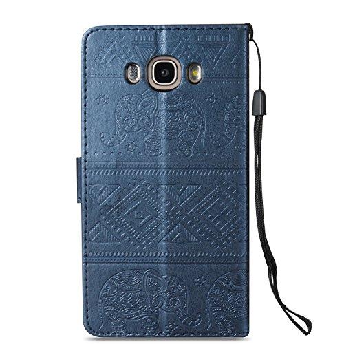 Für Samsung Galaxy J7 2016 Premium Leder Schutzhülle, weiche PU / TPU geprägte Textur Horizontale Flip Stand Case Cover mit Lanyard & Card Cash Holder ( Color : Purple ) Blue