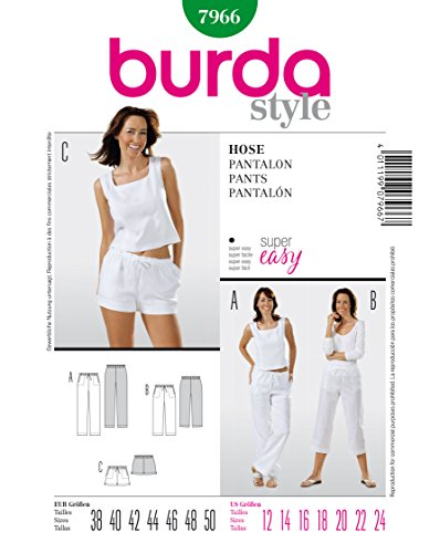 Burda 7966 Schnittmuster Hose (Damen, Gr, 38 - 50) Level 1 super easy