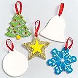 Baker Ross Keramik Anhänger Weihnachten als Baumschmuck für Kinder zum Bemalen und Dekorieren – verschiedene Formen (5 Stück)