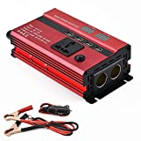Tellunow 600W Wechselrichter DC12V auf AC230V Spanungwandler, Konverter mit 2 EU Steckdose, 2.1A USB Port, Autobatterieclips, Kabel
