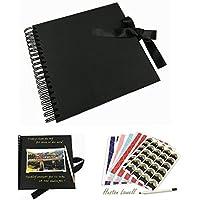 Álbum de fotos, Libro de visitas negro, Libro de visitas de boda, Álbum de recortes de recuerdos de aniversario de bricolaje, Papel de manualidades de 80 páginas,Pegatina de esquina+Rotulador-Huston Lowell (Negro)