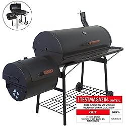 Nexos BBQ Grill Smoker Grillwagen Holzkohlegrill 2 Kammern Barbecue 160 x 124 x 70 cm 57 kg Transporträder, Temperaturanzeige, Stahlblech, Lüftungsklappen, Ablageflächen