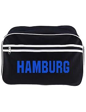 Retrotasche Schriftzug Hamburg schwarz