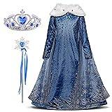FStory&Winyee Kinder Kostüm für Karneval Mädchen Prinzessin ELSA Kostüm Kleid Eiskönigin Cosplay Verkleidung Set Diadem Zauberstab Geschenk Fasching Weihnachten Kindergeburtstag Party Festkleid Blau