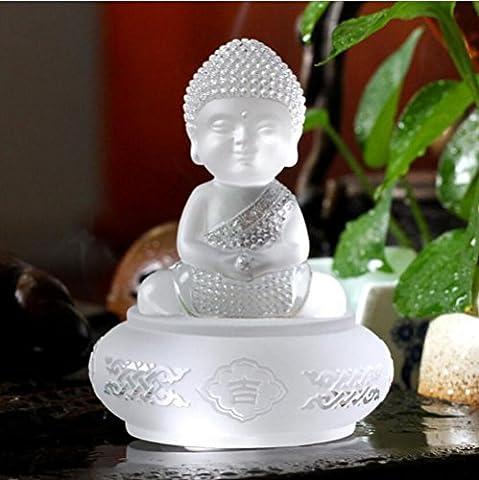 Artisanat Accessoires Auto Accessoires voiture Verre Bouddha Décoration Petite décoration Monk cadeau de bureau Décoration Creative get together , white jade color