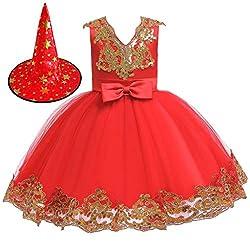 Yanhoo Karneval Mädchen Prinzessin Cosplay Kostüme Kinder Halloween Princess Dress Tutu Kleid Geburtstag Party Performance Abendkleid Kleidung + Hut Kleidung