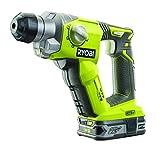 Ryobi R18SDS-L25S Akku-Kombihammer 18V, Schlagschrauber mit SDS-Plus Aufnahme,  zum Bohren, Schrauben, Hammerbohren, leichte Meißelarbeiten, LED-Beleuchtung, GripZone™, inkl. Li-Ionen Akku 18V 2,5Ah