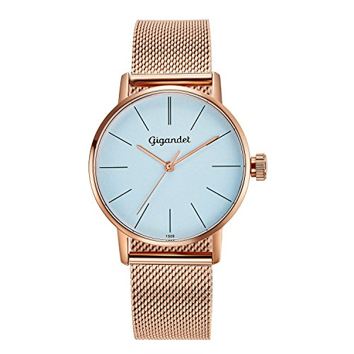 Gigandet Women's Quartz Wrist Watch Minimalism Analogue Stainless Steel Mesh Bracelet Rose Gold Blue G43-020