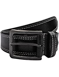 POLO INTL Men's Leather Belt (Black, 34 inches)