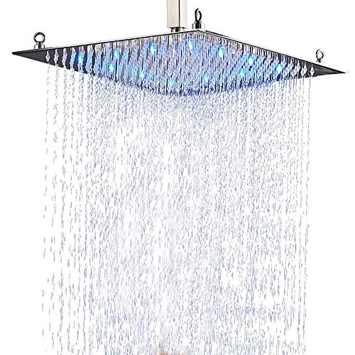 Suguword - Soffione doccia Luxurious per il bagno con soffione doccia a LED cromato, 50 x 50 cm