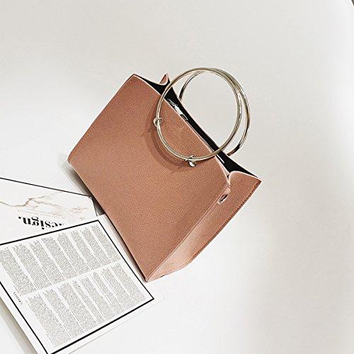 Weibliche metall Ring Frosted handtasche kleine quadratische tasche messenger bag Rosa Trompete