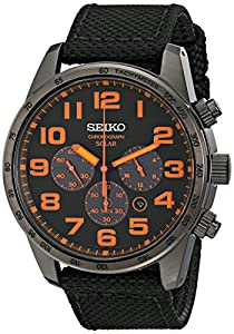 Seiko SSC233 - Reloj para hombres, correa de tela color negro de Seiko