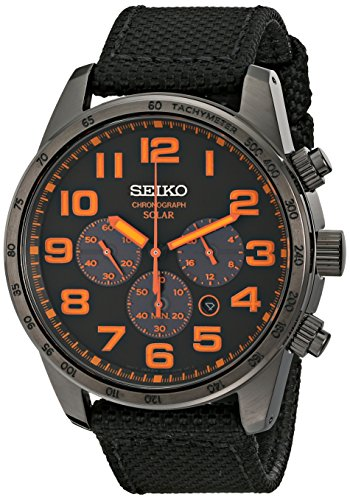 Seiko Men's SSC233 Sport Solar Brushed Brown Stainless Steel Watch
