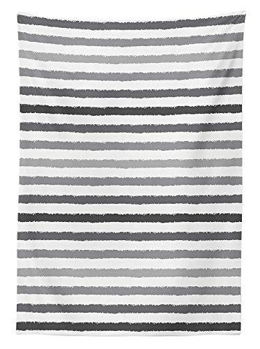 GWFVA Gestreifte Tischdecke im Freien, grau-weiße Streifen, einfarbiger Farbton, Pinselstil, Linien, Grunge-Retro-Digitaldruck, dekorative waschbare Picknicktischdecke, weiß-grau, 60 x 104 Zoll (Grau Servietten Gestreifte)