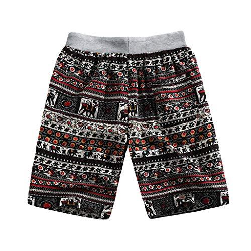 Männer Sommer Mode Lässig Ethnic Style Printed Leinen Leinen Strand Shorts Hosen Zolimx