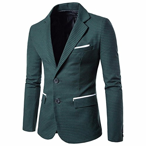 Wawer Charm Herren Casual Cotton Blend Slim Fit Suit Blazer Mantel Lattice Jacket Tops (Grün, XL) (Blazer Herren Mantel Sport)