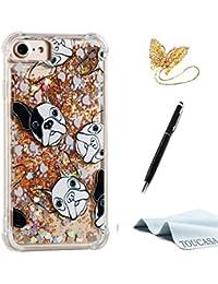 TOUCASA Funda iPhone 8,Funda iPhone 7, Glitter Brillante Liquida Transparente TPU Silicona,Funda Móvil Case Líquido Quicksand Anti-arañazos Brillante Case Cover para iPhone 8/iPhone 7-Dálmatas