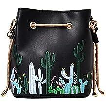 0633f8306e107 AiSi Damen Mädchen Kaktus 3D Blumen Design Leder Umhängetasche Beuteltasche  Tasche
