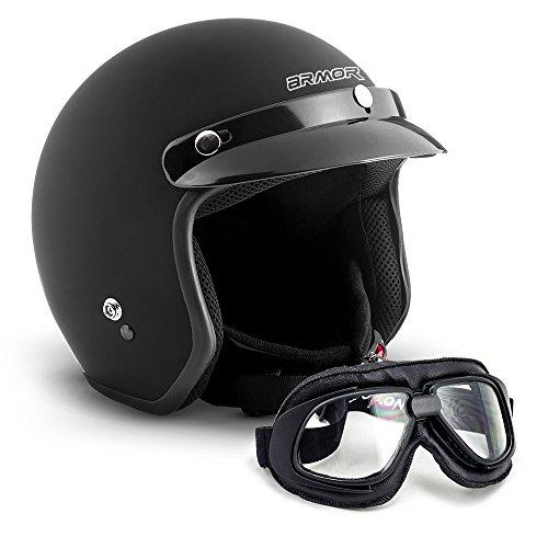 "Armor · AV-47 Set ""Black Matt"" (black) · Casco moto Demi Jet · motocicleta Helmet Retro Scooter Urban Urbano · XXL (63-64cm)"