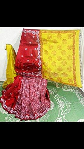 Traditional Hand Weaven Tassar Silk Jamdani Saree Off White Red Combination