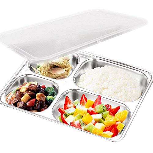 teerfu 304Acero inoxidable Bento caja de almuerzo, 3compartimiento de almacenamiento de alimentos recipientes con tapas, dividido porción Control contenedor plates-microwave, apta para lavavajillas, libre cubiertos 4 compartimentos plata