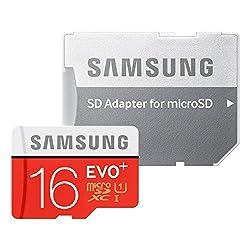 Samsung Evo+ MB-MC16DA/EU 16GB MicroSd 80 Mbps Speed Memory Card (Red/White) with Adapter