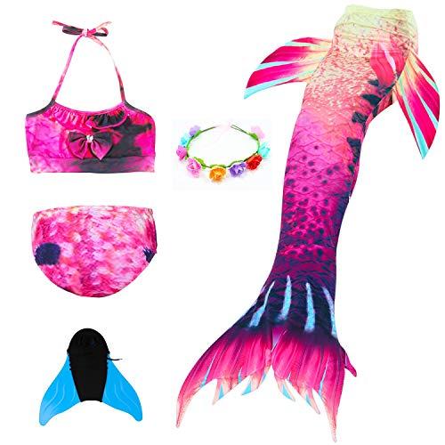 DUBAOBAO Mädchen Meerjungfrau Schwanz, Meerjungfrau Schwanz Badehose kann Bikini Anzug Schwimmen, geeignet für 3-12Y, Badebekleidung Badeanzug,1,110