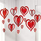 Balloonistics Valentine's Day 3D Heart Hanging Foil for Party Decoration, Proposal and Other Celebrations