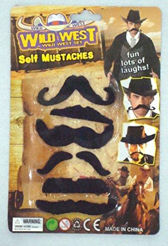 thematys Schwarzer Schnurr-Bart 6er Set Wild West Cowboy - Kostüm für Erwachsene & Kinder - perfekt für Fasching & Karneval - Universal Damen Herren