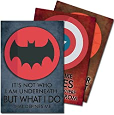 Exciting Lives Batman, Captain America, Spiderman Quotes Multicolour Posters, 12X18-Inch - Set Of 3