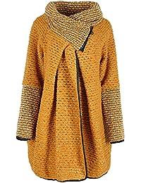 Damen-Frauen Italian Lagenlook Quirky Popcorn Loop Back Wolle Zip Trichter Langarm Cocoon Cardigan Mantel-Jacken-Poncho Coatigan Curve One Size Weitere UK 14-20