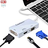 CableDeconn USB-C Multiport Adapter, USB-C Type C 3.1 (Thunderbolt 3 Compatible) to HDMI DVI VGA 4K Kable Adapter Konverter for 2017 MacBook
