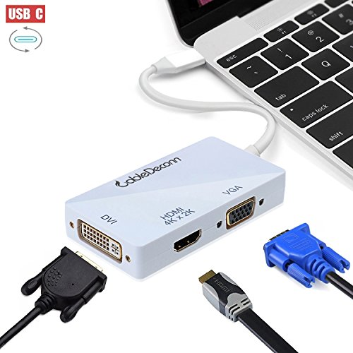 CableDeconn USB-C Multiport Adapter, USB-C Typ C 3.1 (Thunderbolt 3 kompatibel) auf HDMI DVI VGA 4K Kable Adapter Konverter für 2017 MacBook (Thunderbolt-auf-vga-konverter)