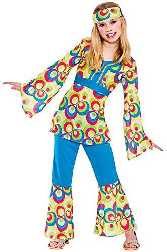 Mädchen Retro Hippie Mädchen Fancy Dress Kostüm Halloween Kind Outfit ()
