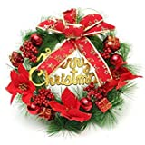 Questquo 30Cm Red Plastic Christmas Wreath Ring Tree Home Decorative Festival Flower Ring