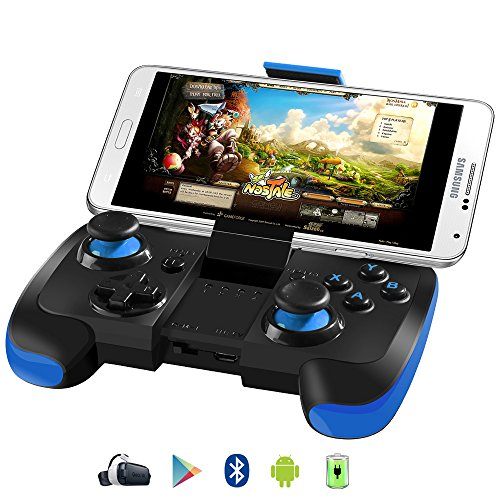 BEBONCOOL Wireless Bluetooth Game Controller with Clip for Android Phone/Tablets/TV Box/Samsung Gear VR/Emulator (Blue)