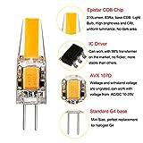 Liqoo 10er G4 LED 2W Lampe Birne, high Power COB Chip gleichmäßige Beleuchtung, 107D Kapazitanz inkl.IC, hohe CRI 83Ra, super mini Ø 9,6mm 2800K Warmweiß, 210LM Ersetzt 20W Halogenlampe AC DC 12V Abstrahlwinkel 260º