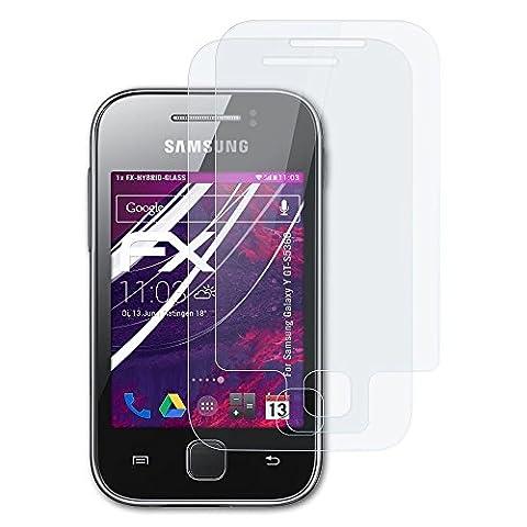 Samsung Galaxy Y (GT-S5360) Glasfolie - 1er Set atFoliX FX-Hybrid-Glass hartbeschichtete elastische 9H Kunststoffglas Folie - besser als Echtglas Panzerglas