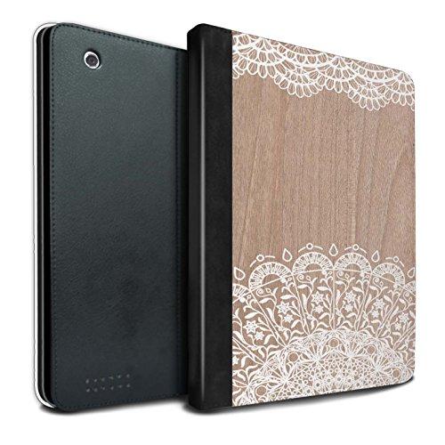 Stuff4® PU-Leder Hülle/Case/Brieftasche für Apple iPad 2/3/4 Tablet/Schönheit Muster/Fein Spitzenborte Holz Kollektion (3 Sexy Ipad Fällen)