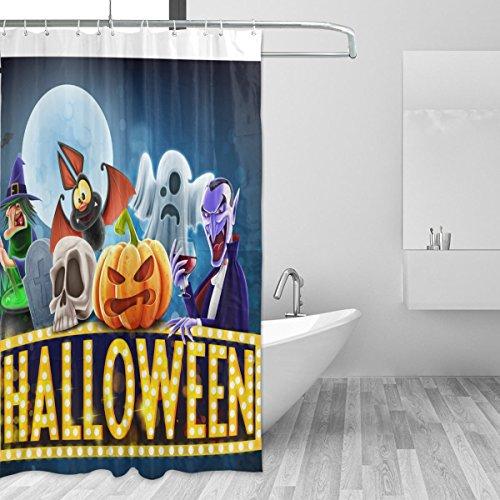 (COOSUN Dusche Halloween Charaters Vorhang Set Polyester-Gewebe Wasserabweisend Badezimmer Duschvorhang Set Hauptdekoration mit Haken, 72W X 72L inches 72x72 Unisex)
